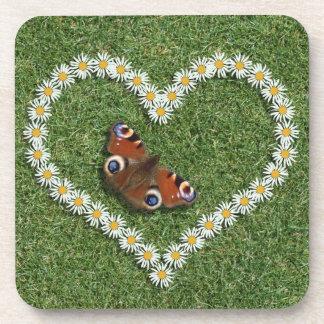 Daisy Flowers Love Heart & Butterfly Cork Coasters