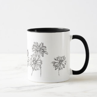 Daisy Flowers Pen and Ink Drawing Black Mug