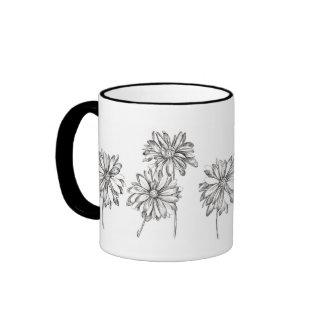 Daisy Flowers Pen and Ink Drawing Black Ringer Mug