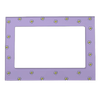 Daisy Flowers Purple Pattern Magnetic Picture Frames