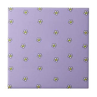 Daisy Flowers Purple Pattern Tiles
