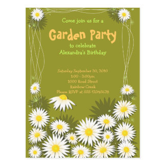 Daisy Garden Birthday Party Invitation Postcard