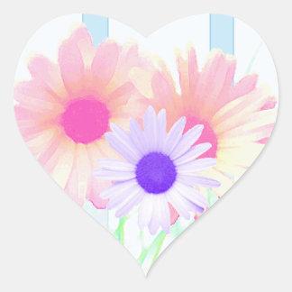Daisy Garden Floral Envelope Seals Heart Sticker