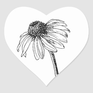daisy heart stamps or envelope seals heart sticker