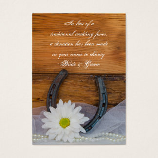 Daisy Horseshoe Western Wedding Charity Favor Card