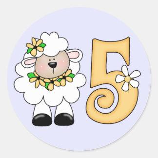 Daisy Lamb 5th Birthday Round Sticker