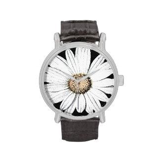 Daisy Mae Vintage Leather Strap Black Wrist Watch