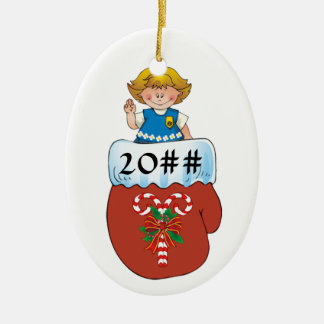 Daisy Mitten Blonde Ceramic Ornament