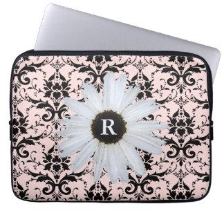 Daisy Monogrammed Pink   Elegant Damask Pattern Laptop Sleeve