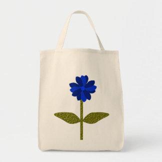 Daisy Ocean Blue Organic Grocery Tote Bag