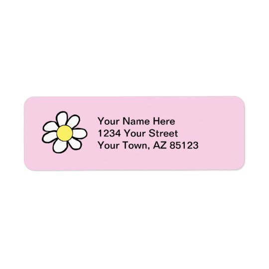 Daisy on a Pink Background Return Address Label