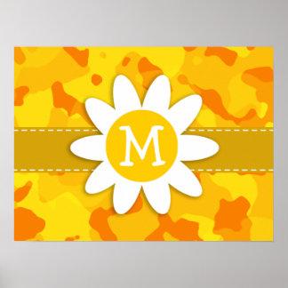 Daisy on Amber Yellow Camo; Camouflage Print