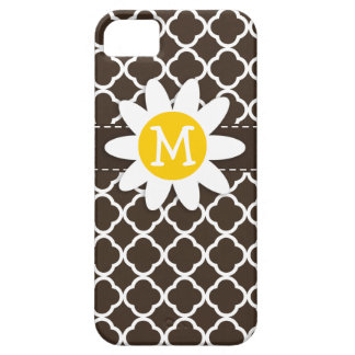 Daisy on Bistre Brown Quatrefoil iPhone 5 Covers