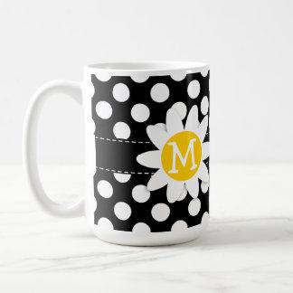 Daisy on Black and White Polka Dots Basic White Mug