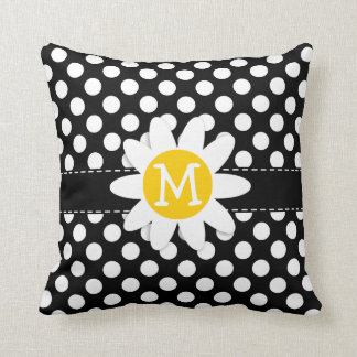 Daisy on Black and White Polka Dots Cushion