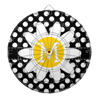 Daisy on Black and White Polka Dots Dartboard