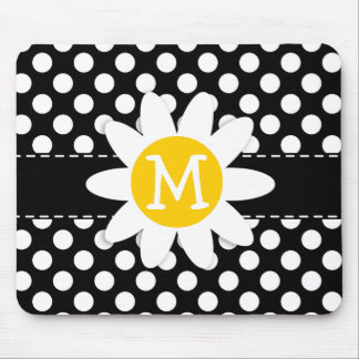 Daisy on Black and White Polka Dots Mousepads