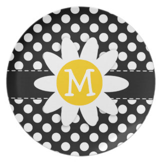 Daisy on Black and White Polka Dots Dinner Plates