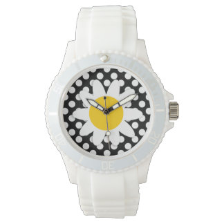 Daisy on Black and White Polka Dots Wrist Watch