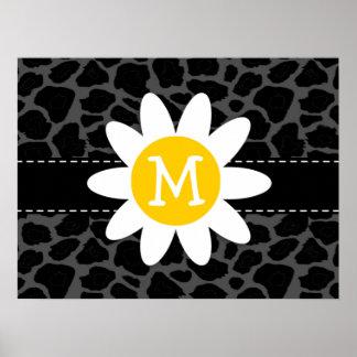 Daisy on Black Leopard Animal Print