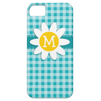 Daisy on Blue-Green Gingham iPhone 5 Cover