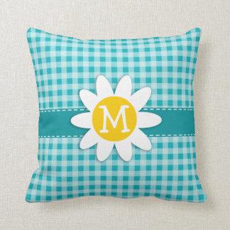 Daisy on Blue-Green Gingham Cushion