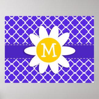 Daisy on Blue Violet Quatrefoil Poster