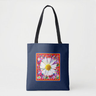 Daisy on bright multicolored quilting tote bag