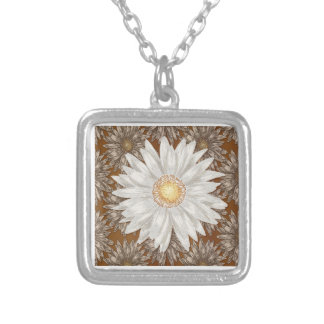 Daisy on Brown Daisy background Silver Plated Necklace