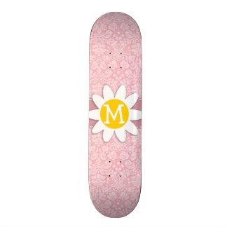 Daisy on Bubble Gum Pink Damask Pattern Custom Skateboard