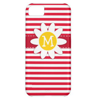 Daisy on Cadmium Red Stripes; Striped iPhone 5C Covers