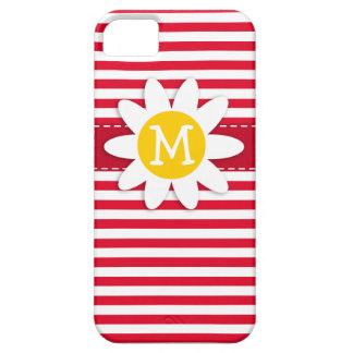 Daisy on Cadmium Red Stripes; Striped iPhone 5 Cases