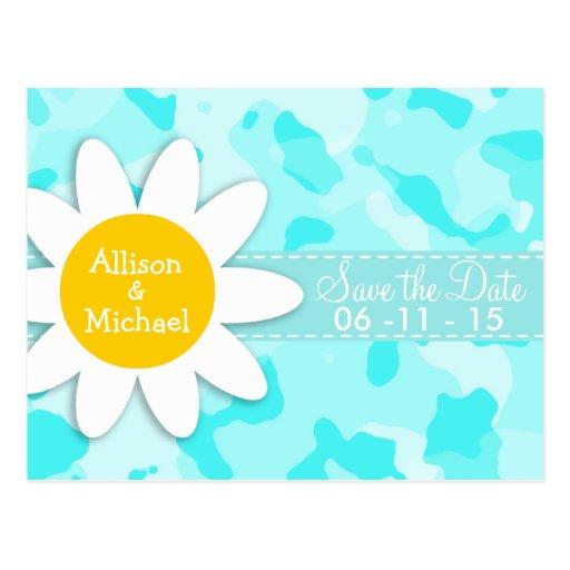 Daisy on Celeste Camo; Camouflage Post Card