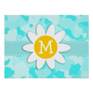 Daisy on Celeste Camo; Camouflage Posters