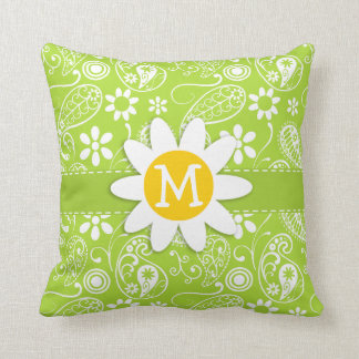 Daisy on Citron Green Paisley; Floral Cushion
