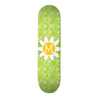 Daisy on Citron Green Paisley Floral Skateboard