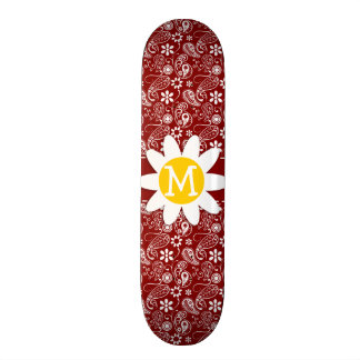 Daisy on Dark Red Paisley Floral Skate Board Deck