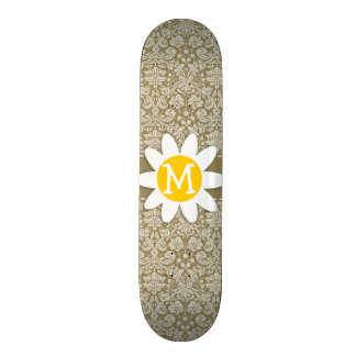 Daisy on Dark Tan Damask Skateboard Decks