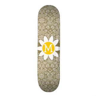 Daisy on Dark Tan Damask Skateboard Decks