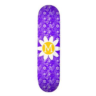Daisy on Electric Indigo Paisley Skate Board