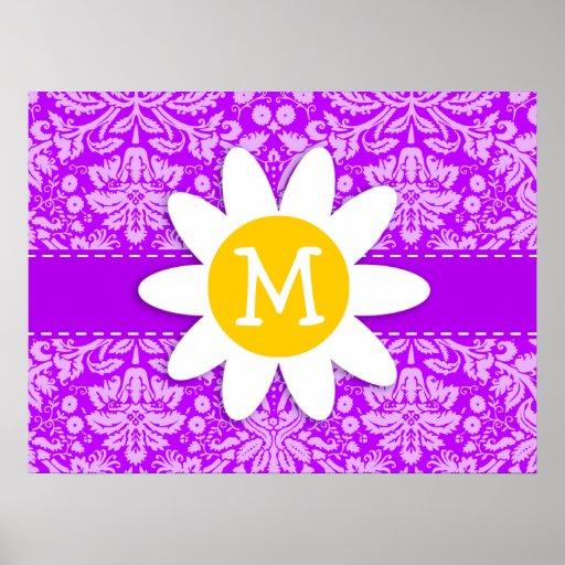 Daisy on Electric Purple Damask Print
