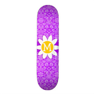 Daisy on Electric Purple Damask Skate Board Deck