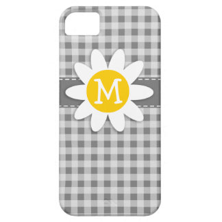 Daisy on Gray Gingham iPhone 5 Case