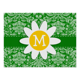 Daisy on Green Damask Poster