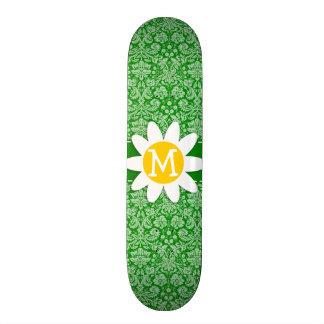 Daisy on Green Damask Custom Skateboard