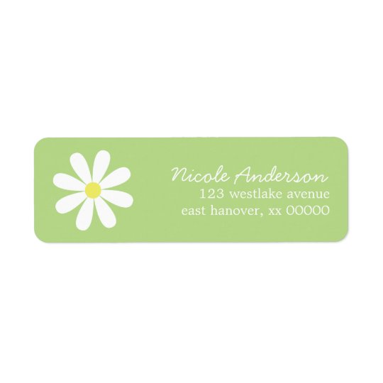 Daisy on Green Return Address Label
