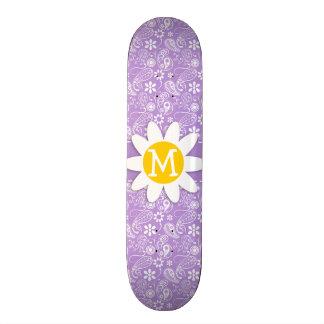 Daisy on Lavender Light Purple Paisley Pattern Skate Deck