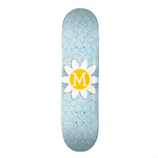Daisy on Light Blue Damask Skate Board