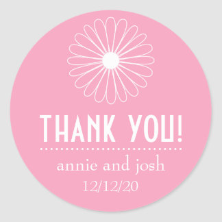 Daisy Outline Thank You Labels (Pink) Sticker