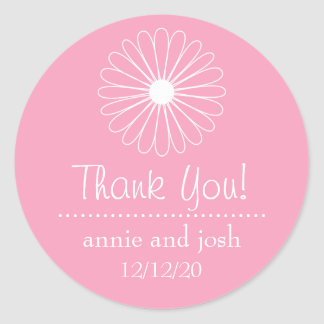 Daisy Outline Thank You Labels (Pink) Stickers